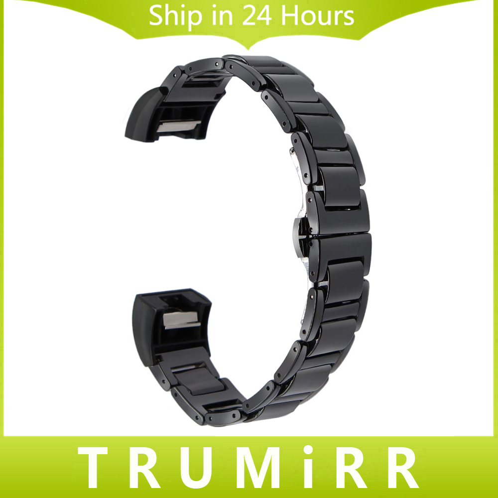 Full Ceramic Watchband + Link Remover for Fitbit Charge 2 Wristband Smart Watch Band Butterfly Buckle Wrist Bracelet Black White