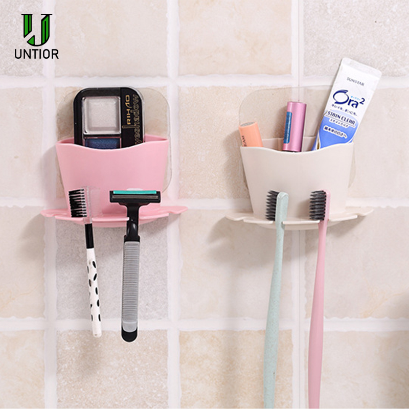 UNTIOR Plastic Toothbrush Holder Toothpaste Storage Rack Shaver Tooth Brush Dispenser Bathroom Organizer Accessories Set Tools image
