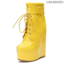 2018 New Design Ladies Handmade Wadge Heel Boots Synthetic Cross Lace-up Fashion Booties Casual Winter BFCM High Heel Shoes N033 2018 new holidays style ladies handmade women s high heel boots rivets spikes pointy booties party dress fashion shoes x184