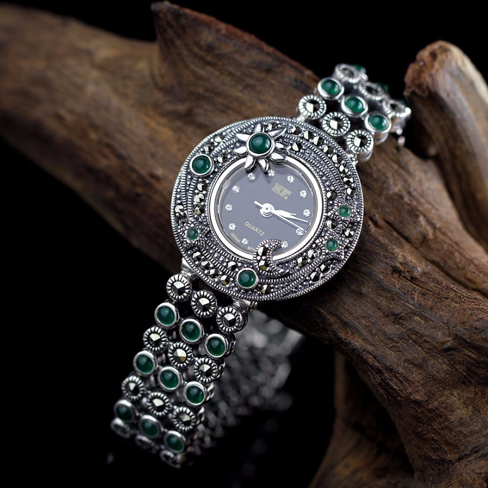 Limited Edition Classic S925 Silver Pure Silver Plum Sun Moon Jade Bracelet Watch Thailand Process Rhinestone Bangle Dresswatch 4pc lot dr ms07 220v stainless steel dual 60w ultrasonic cleaner machine with display for jewelry glasses circuit board