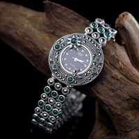 Limited Edition Classic S925 Silver Pure Silver Plum Sun Moon Jade Bracelet Watch Thailand Process Rhinestone