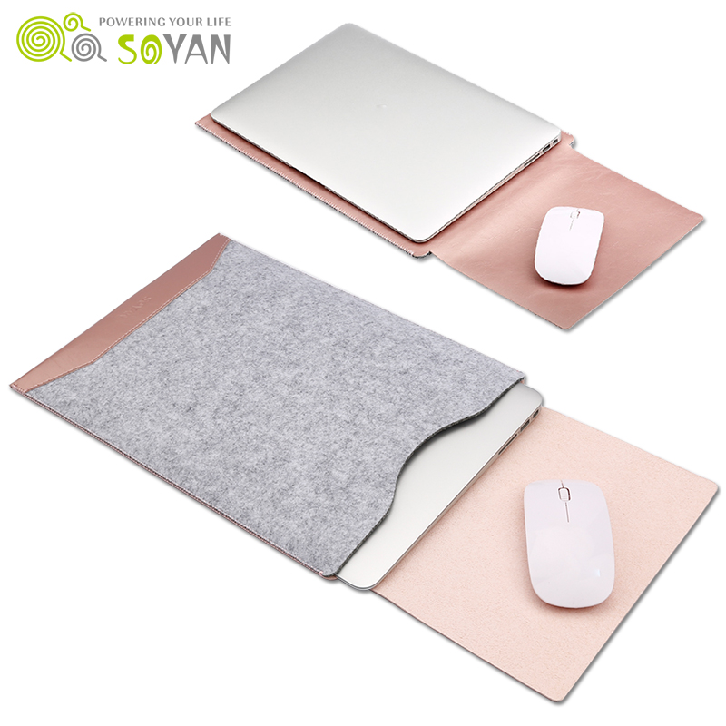 Fashion Laptop Bag Felt Universal Notebook Case Pouch for Apple Macbook Air Pro Retina 12 13 15 պայուսակ macbook- ի օդային 13 դեպքում