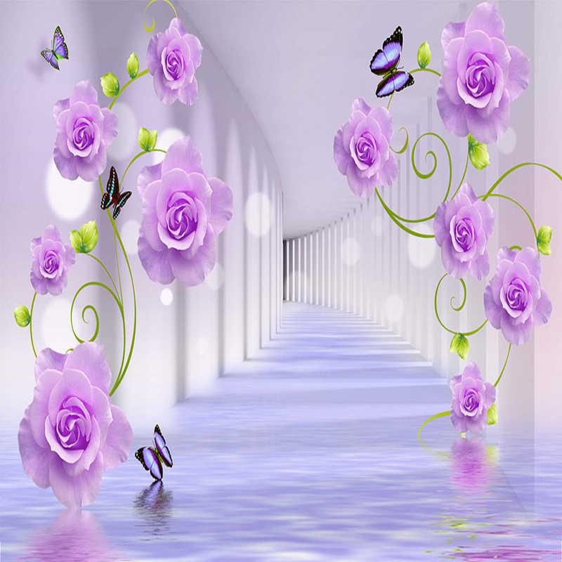 Custom Photo Wallpaper Modern Purple Rose Flowers 3D