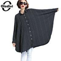 Very Big Size 10XL 9XL 8XL 7XL 6XL 5XL Striped Long Sleeved Loose Blouse 2016 Fashion