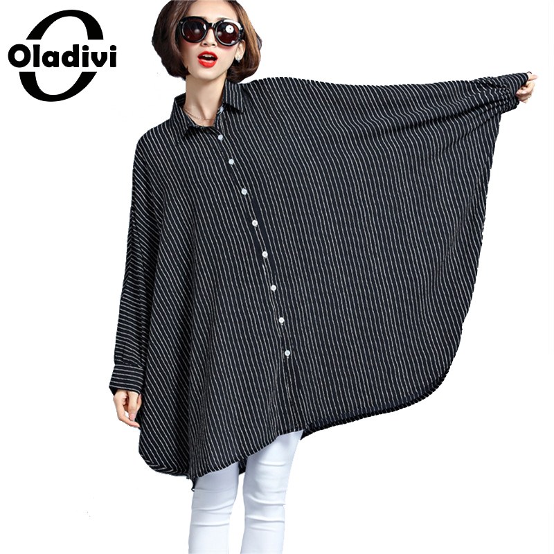 Oladivi Oversized Shirt Women Large Size Top Striped Blouses 2019 Spring New Tees Tunic Plus Size Clothing Female Blusas 8XL 6XL