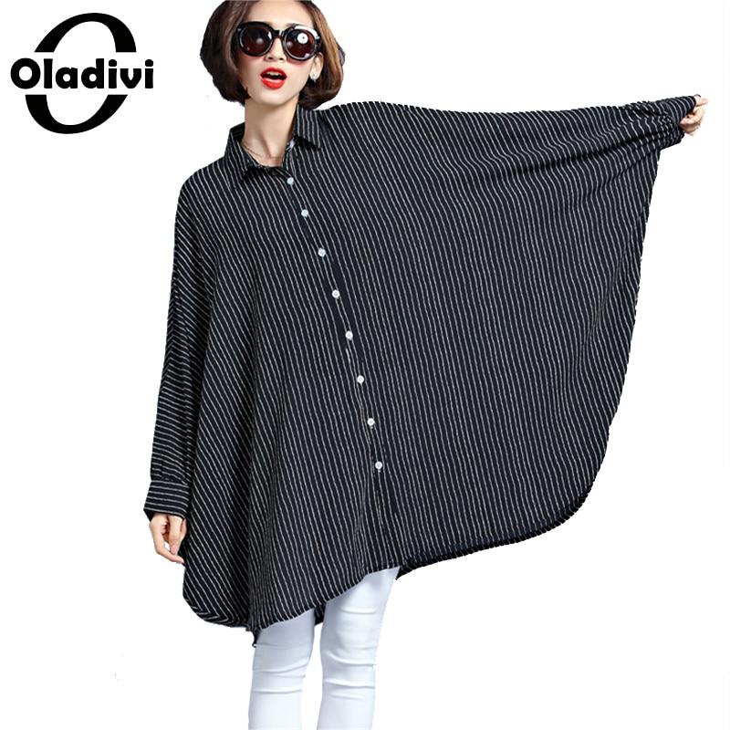Oladivi Oversized Shirt Women Large Size Top Striped Blouses 2019 Spring New Tees Tunic Plus Size Clothing Female Blusas 8XL 6XL