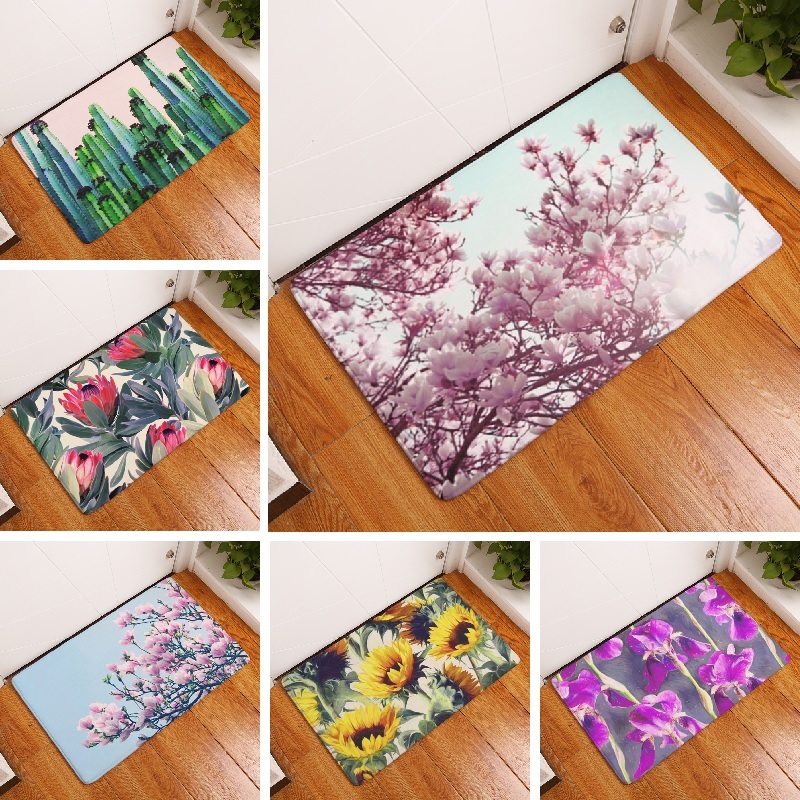 Bath Mat Flower Printed Mat 50x80cm Toilet Carpet