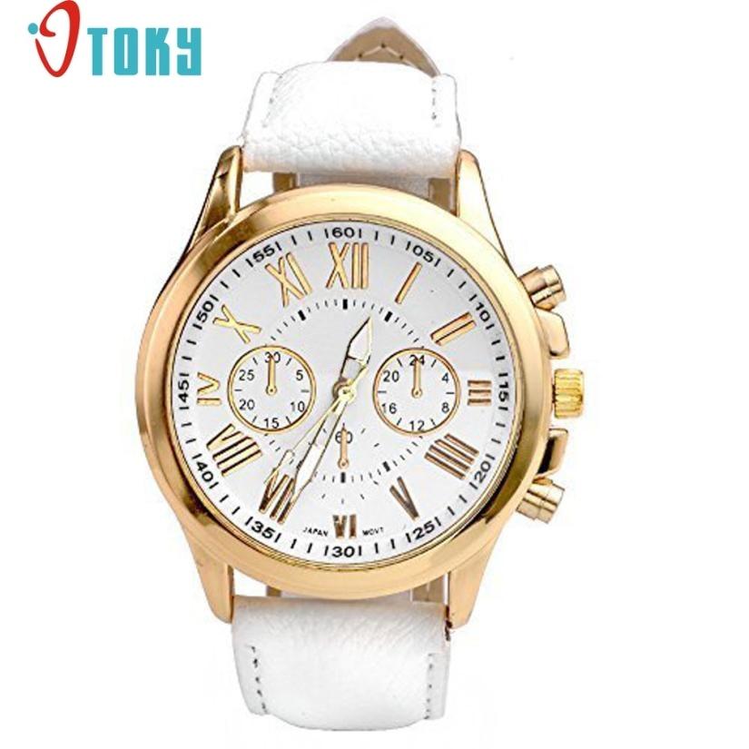 shoping cheap fashion New Women Fashion Geneva Roman Numerals Faux Leather Analog Quartz Wrist Watches M8 Dropshipping xhose city shoping 71%