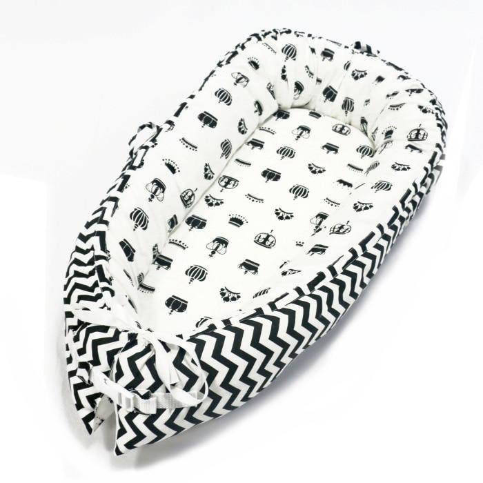 Детская кроватка-гнездо переносная съемная и моющаяся кроватка дорожная кровать для детей Младенческая Детская Хлопковая Колыбель - Цвет: Black waveN CROWNS