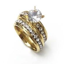 1 пара 5 мм титановый кристалл свадебный набор кольцо из нержавеющей стали кольца для женщин Свадебные аксессуары с CZ