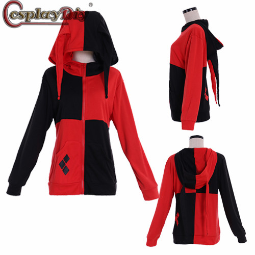 Cosplaydiy Suicide Squad Harley Quinn Joker Cosplay Dr.Harleen Quinzel Costume Hoodie Zipper Jacket Hooded Sweater Coat Tops