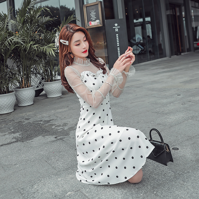 EAD Elegant Black Dot Transparent Mesh Midi Sexy Dress Women Summer Petal Sleeve Patchwork Sundress Female Ruffle Collar Vestido
