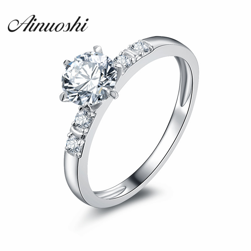 Ainoushi Six Prong Round Cut Solitaire Engagement Ring 1 0 Ct Sona