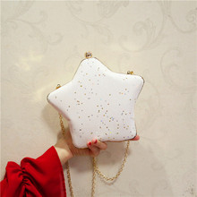 Angelatracy 2019 New Arrival Girl Cute Five-pointed Star Banquet Chain Slanting Solid Minaudiere Evening Single Shoulder Bag