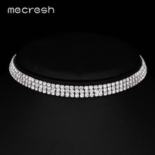 Mecresh Classic Silver Color Crystal Bridal Choker Necklace Jewelry Fashion Rhinestone Wedding Collar Necklace for Women MXL061(China)