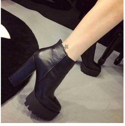 Mujer Tacón Lana Negro Moda Botas Invierno Zapatos De Grueso Alto 2016 Martin Forrado PzqAO