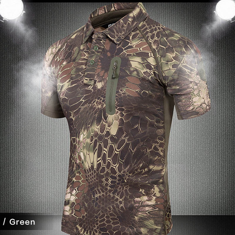 High quality 2018 Fashion Summer Cargo Camouflage tactics quick-drying T-shirt tactical Zipper pocket breathable T-shirt