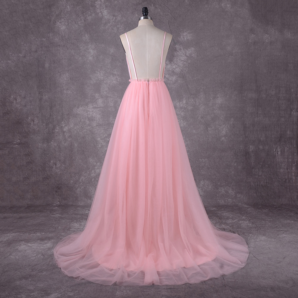 2019 Pink Spaghetti Straps with Delicate Appliques Tull Wedding Dress Sexy Bride Dress Backless vestido de noiva princesa
