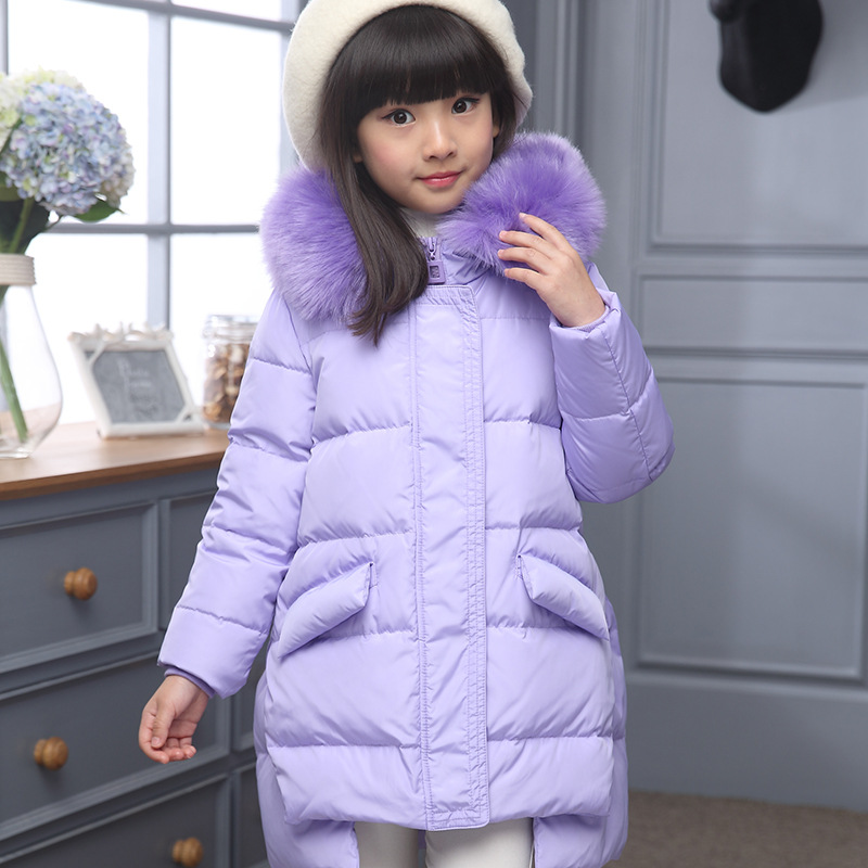 2018 Fashion children duck down jacket natural fur collar long thick winter jacket girls child coat outwear warm for cold winter 2018 cold winter warm thick baby child girl hoody long outerwear pink duck down