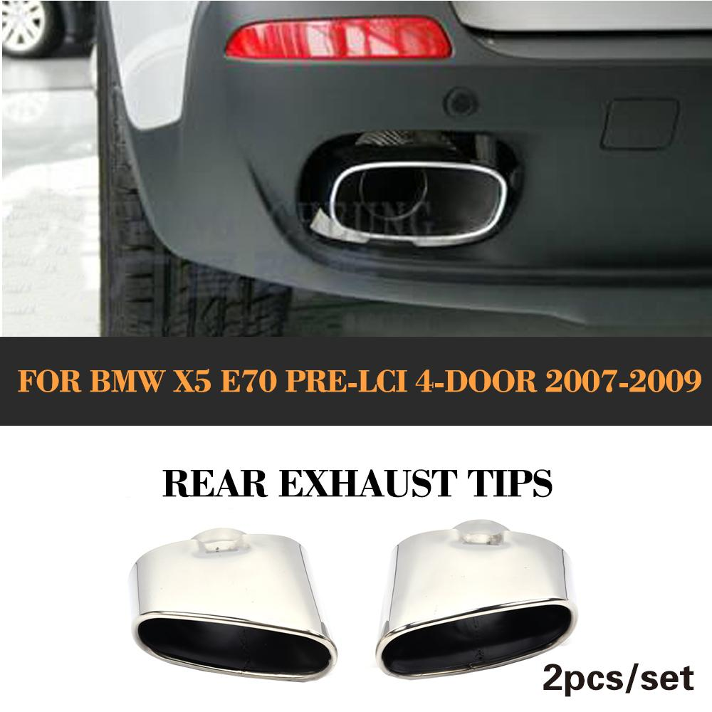 все цены на 2Pcs Stainless Steel car Rear Exhaust Tips Muffler Pipe End For BMW X5 E70 Pre-Facelift Non-Convertible 2007 2008 2009 онлайн