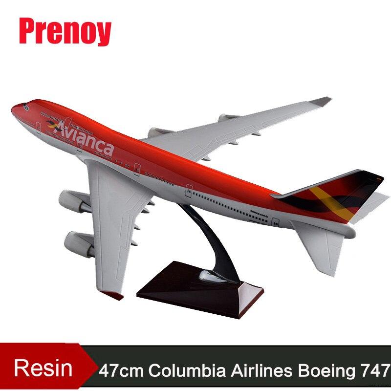 47 см Boeing 747 Columbia Airlines модель самолета смолы B747 Avianca Airways Airbus Модель Творческий Avianca самолет модель