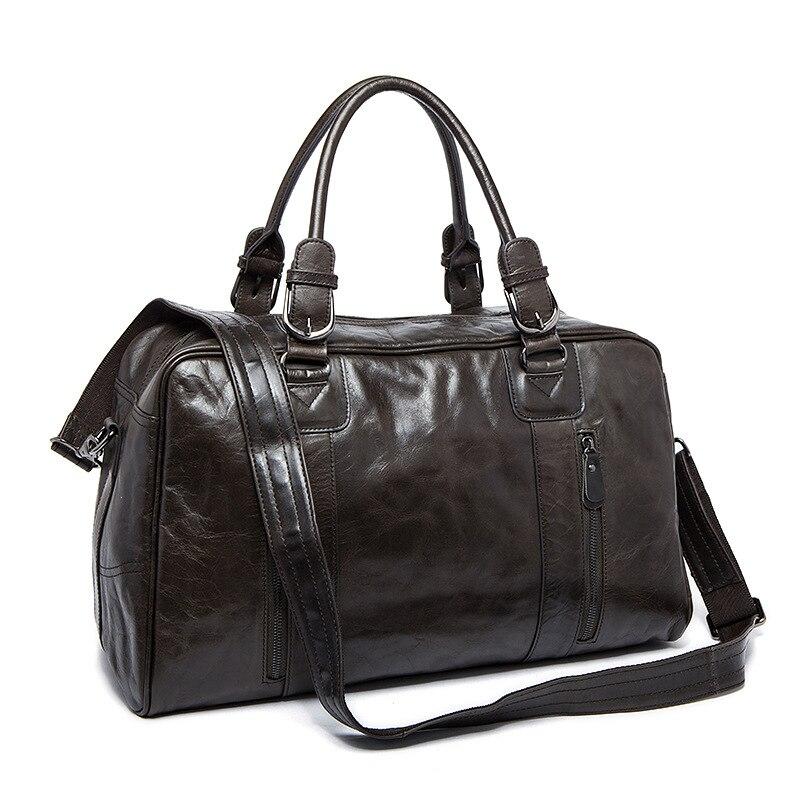 Travel Schulterbeutel Einfache Duffel Viajes Männer grey Kapazität Leder Große Bolsa Echtes Gepäcktasche Black Einzelner Kuh ZvqBtw5