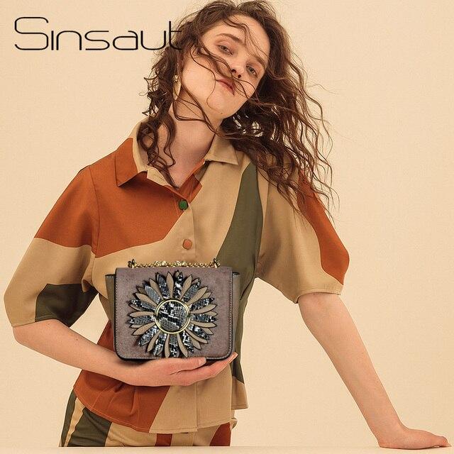 Sinsaut 2018 אופנה לנשים מיני קטיפה אפליקציות כתף שקיות גבירותיי מצמדי תיק נשים מתכת שרשרת Crossbody דש שקיות