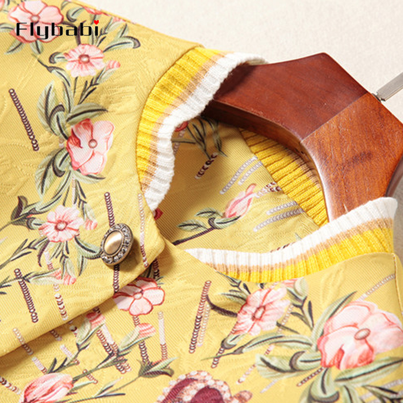 High Quality Sequined Jacquard Golden yellow Red heart print Button Fly short coat Above Knee, Mini Half skirt Women's Sets 2018 - 6