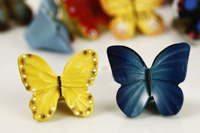 6PCS Butterfly Hand painted Resin Kitchen Cupboard Cabinet Door Knob ...