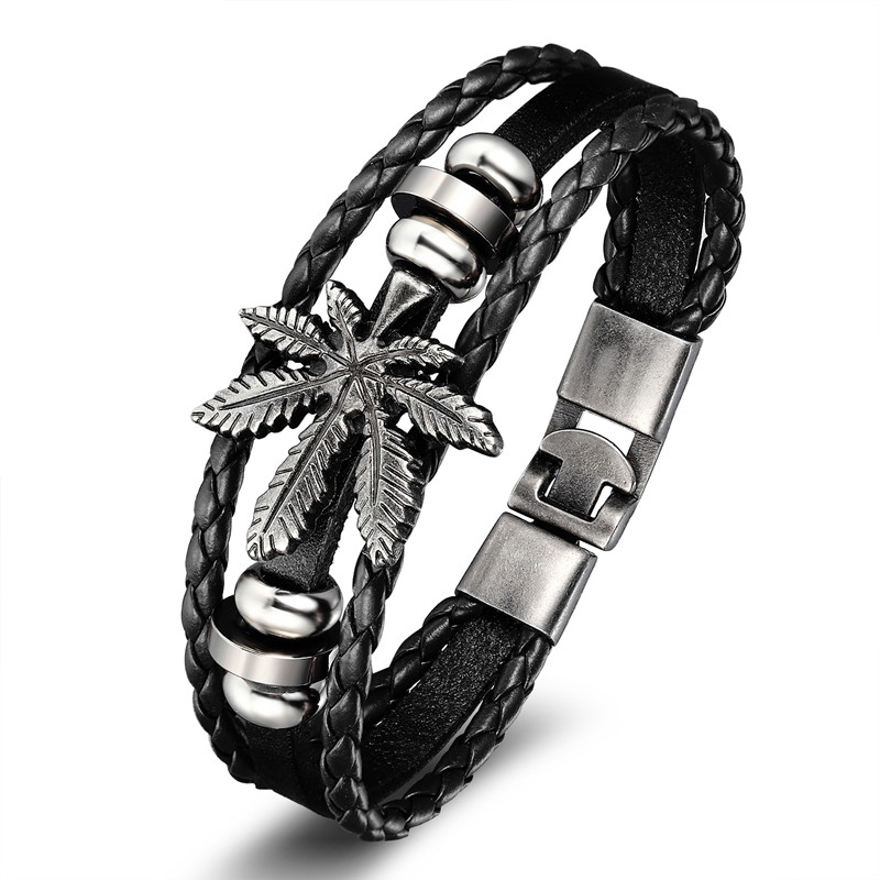 18 New Fashion 3 layer Leather Skull Bracelets&Bangles Handmade Round Rope Turn Buckle Bracelet For Women Men Charm bracelet 18