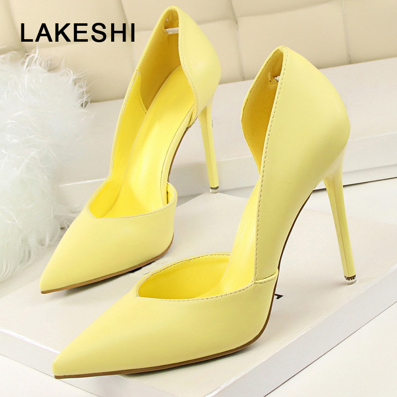 LAKESHI Solid Women Pumps Thin Heels Shoes Sexy High Heels Pointed Toe Fashion Wedding Shoes Woman Summer Pumps Shoes Female zapatos mujer designer women shoes pumps summer high heels sexy fashion wedding shoes pointed toe thin heels office shoes