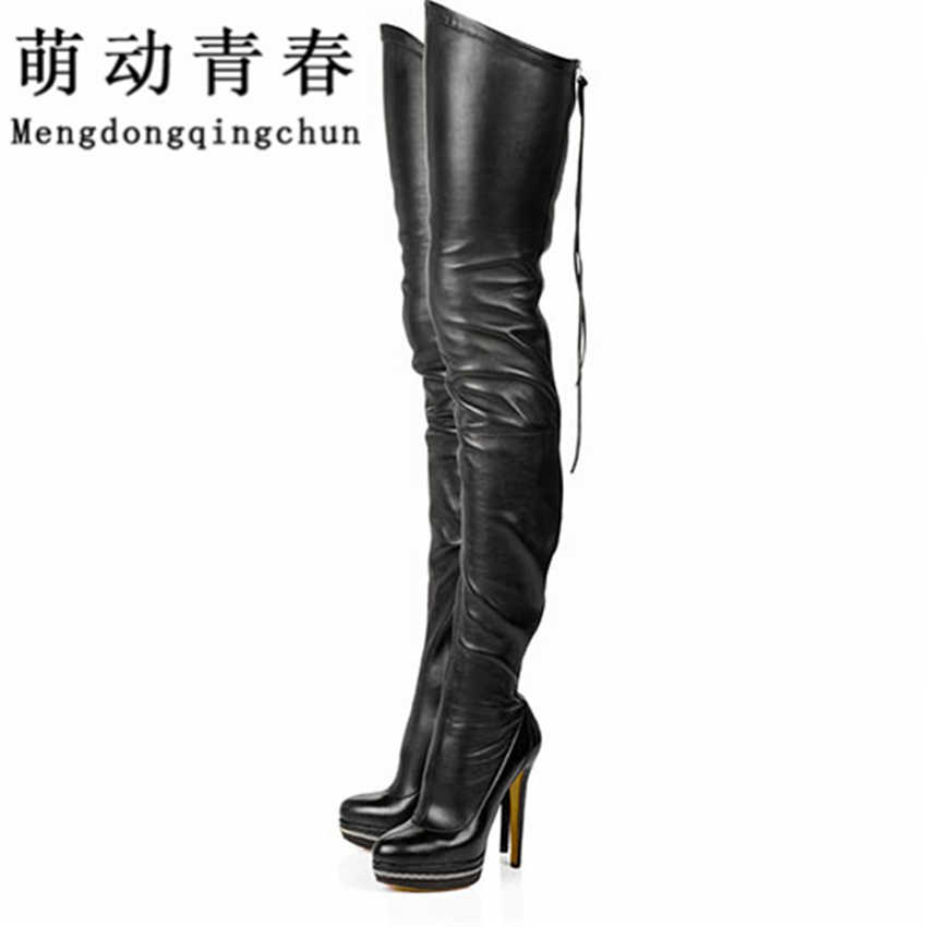 Hot Women Boots Stretch PU Leather Over The Knee High Sexy Ladies Party High Heels Platform Shoes Woman Black Plus Size 43 Boats
