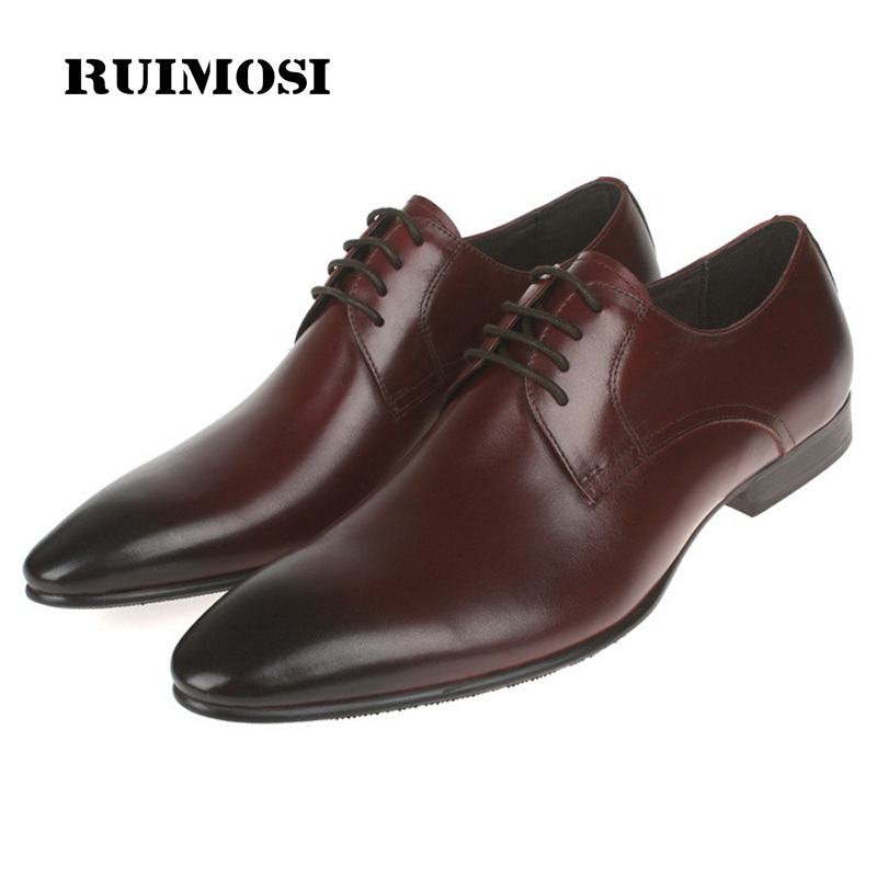 RUIMOSI Italian Pointed Toe Man Formal Wedding Dress Shoes Luxury Brand Genuine Leather Male Oxfords Men's Bridal Flats ME65