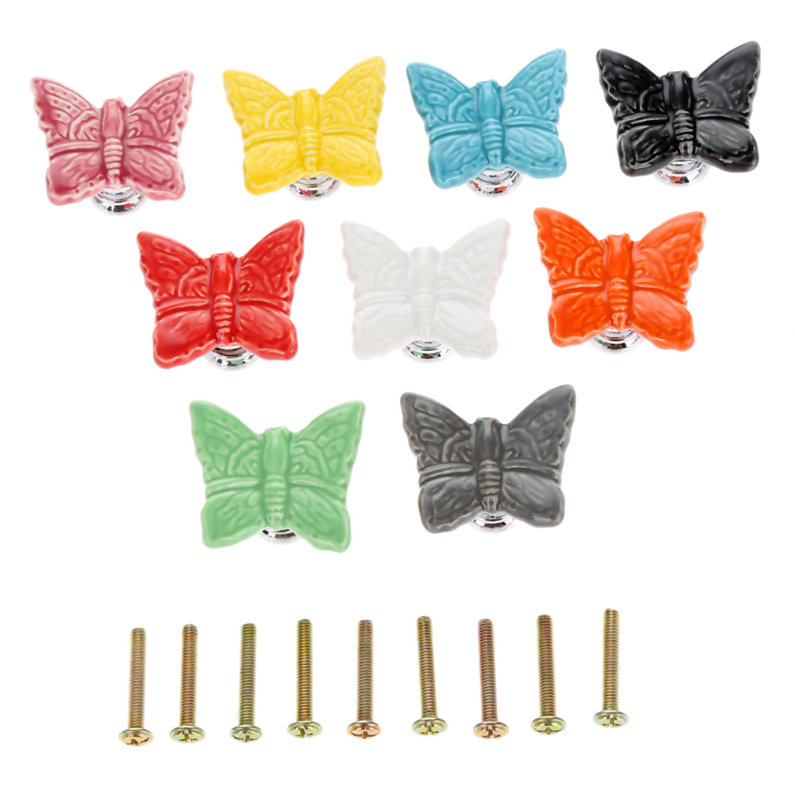 DRELD 1Pc Furniture Handles Butterfly Cabinet Knobs and Handles Ceramic Door Knob Cupboard Dresser Drawer Kitchen Pull HandleDRELD 1Pc Furniture Handles Butterfly Cabinet Knobs and Handles Ceramic Door Knob Cupboard Dresser Drawer Kitchen Pull Handle