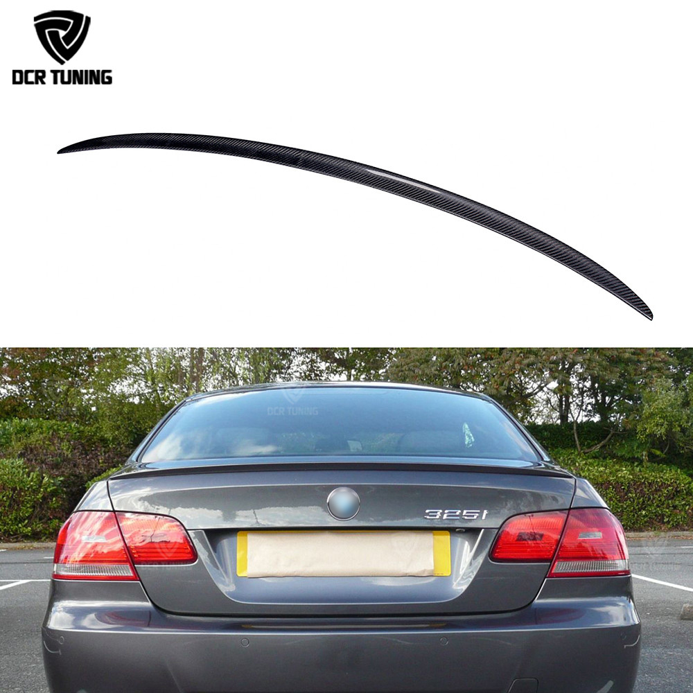 M3 Style For BMW E92 Spoiler 3 Series 2 Door E92 M3 or E92 Coupe Carbon Spoiler 2005 - 2012 Carbon Firber wing for bmw e92 carbon fiber spoiler p style 3 series e92 & e92 m3 carbon fiber rear spoiler rear trunk wing coupe 2 door 2005 2012
