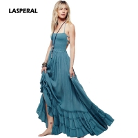LASPERAL Summer Dress Women 2017 Boho Beach Casual Backless Maxi Dresses Sexy Spaghetty Strap Vestidos Mujer