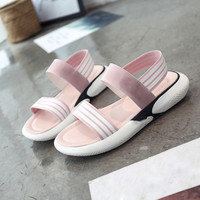 Sagace Young Girls Sandals 2018 SUMMER Fashion Women Cloth Shake Shoes Summer Sandals Round Toe Stripe
