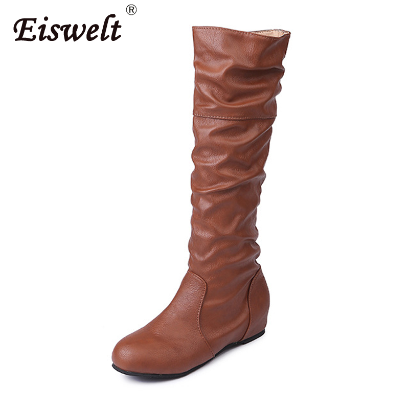EISWELT Women Fashion Autumn Winter Ladies Boots Solid Casual Pleated Round Toe Female Shoes Folding High Tube Women Boots. pleated frill trim tube top