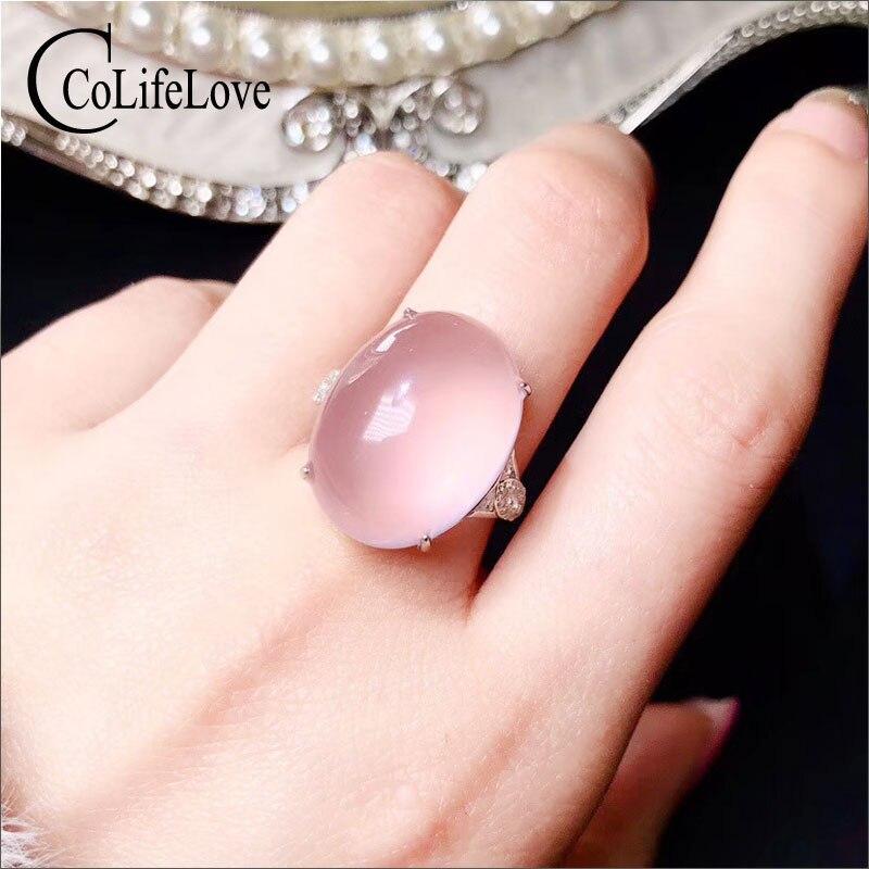 CoLife bijoux élégant anneau de Quartz Rose pour la fête 15*20mm naturel Quartz Rose 925 anneau en argent Sterling bijoux de Quartz Rose