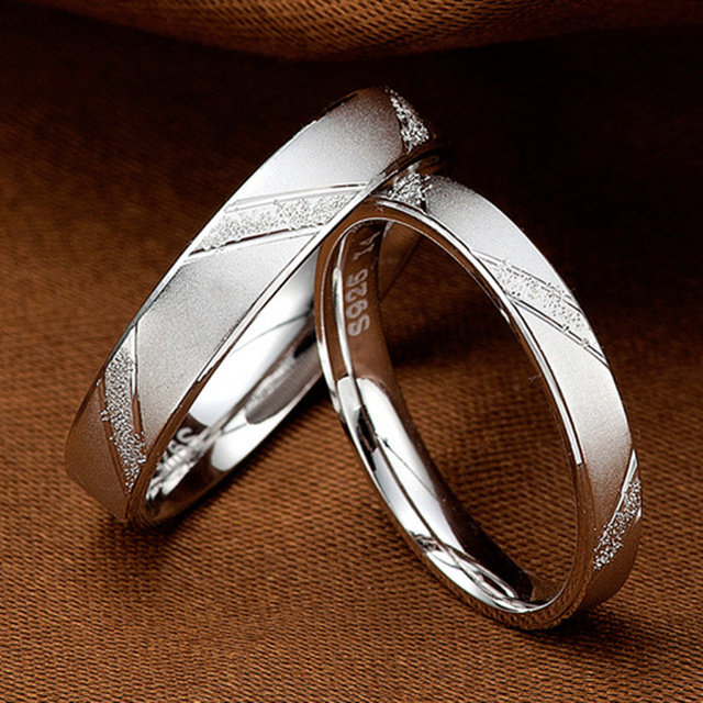 Fashion Men Women Jane Love 925 Sterling Silver Couple Rings Lovers Wedding Band His and Her Promise Ring 1 piece choose size