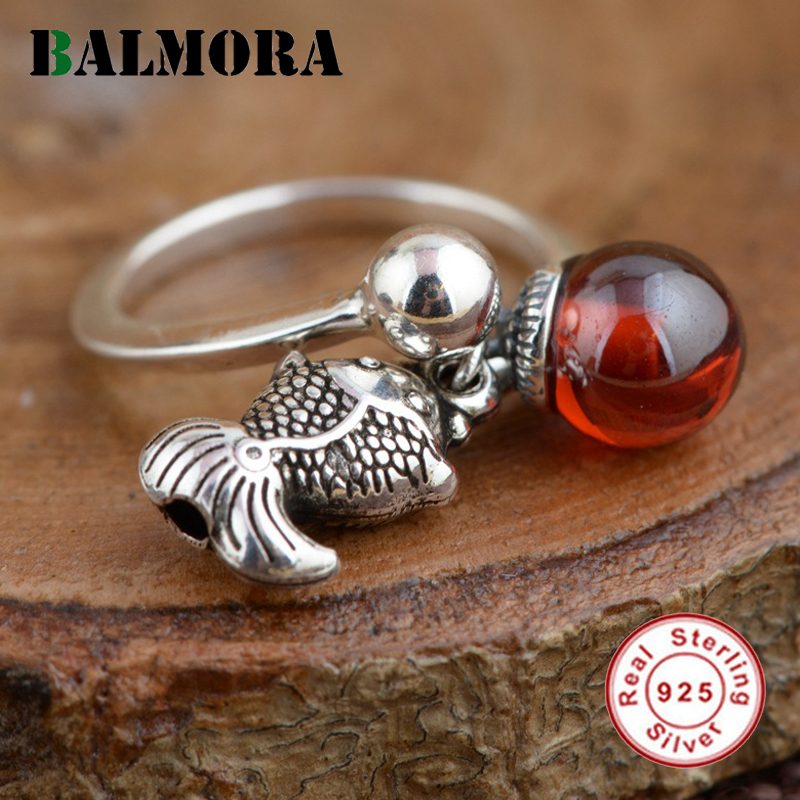 BALMORA Red Zircon Fish Open Ring Genuine 925 Sterling Silver Rings for Women Lover Party Gift