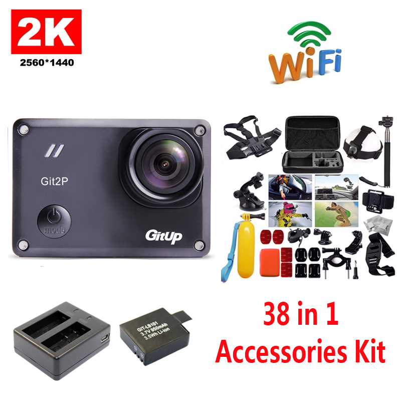 Free Shipping!!GitUp GIT2P 2K WiFi Camera 30fps 1080P Sports Action Cam+Extra 1pcs Battery+Battery Charger+38Pcs Accessories Kit free shipping 16gb soocoo c30 wifi ultra hd 2k 30fps full hd 1080p mini sports camera extra 1pcs battery car charger holder