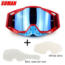New Arrival Soman Brand Motocross Goggles ATV Casque Motorcycle Glasses With 5 Tear Off Films&White Lens Road Sunglasses