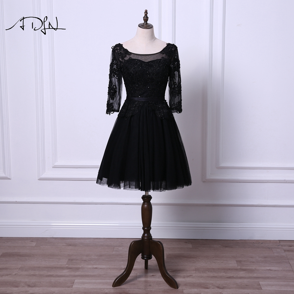 ADLN Little Black   Dresses   Scoop   Cocktail     Dress   with Sleeves A-line Tulle Black/Ivory Short Prom Wear Robe de   Cocktail