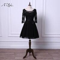 ADLN Little Black Dresses Scoop Cocktail Dress with Sleeves A line Tulle Black/Ivory Short Prom Wear Robe de Cocktail 2018