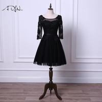 ADLN Little Black Dresses Scoop Cocktail Dress With Sleeves A Line Tulle Black Ivory Short Prom