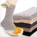 Venta caliente 2016 de otoño/invierno hombre double aguja calcetines de lana de conejo espesantes calcetines de lana térmica calcetines elite soks calientes para el varón