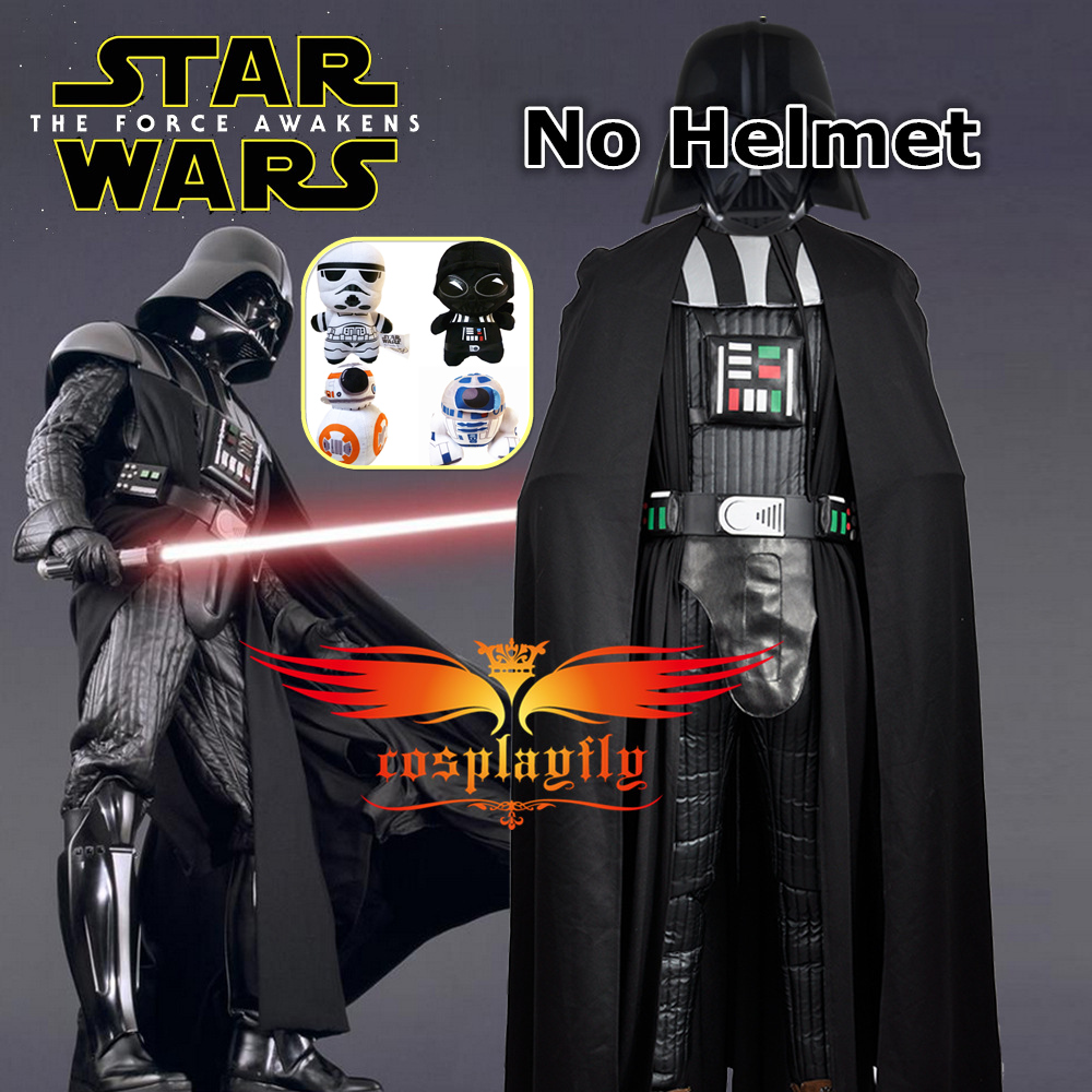Star Wars The Force Awakens Darth Vader PU Cosplay Costume(No Helmet)+One Gift 20CM BB8/R2D2/Stormtrooper Plush Dolls at Random