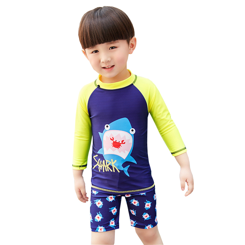 GI FOREVER Children Two Pieces Suit With Cap Boy Long Sleeve Swimwear Kid Cool Shark Print Swimsuit Bathing Suit Maillot De Bai