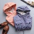 Abrigo chica con capucha y abrigos otoño del resorte muchachas de la capa chaquetas moda Trench capucha de la chaqueta de la ropa ocasional